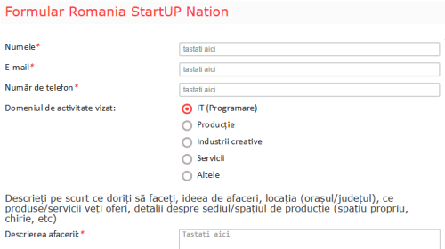 Formular inscriere Romania Startup Nation